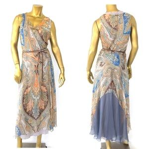 ROZAE NICHOLS SILK/COTTON COLORFUL MAXI DRESS